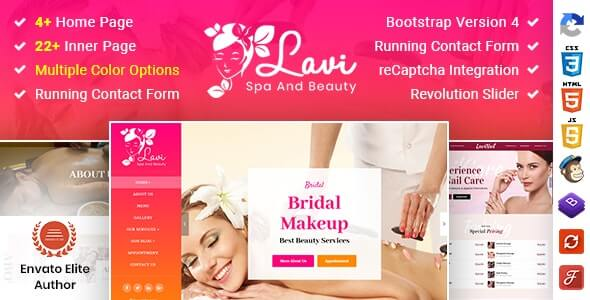 Lavi v1.0 - Beauty Spa Salon Makeup Parlour Bootstrap 4 Template