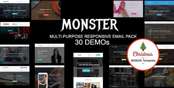MONSTER v1.0 - Multipurpose Responsive Email Pack with online Stampready & Mailchimp Builders Access