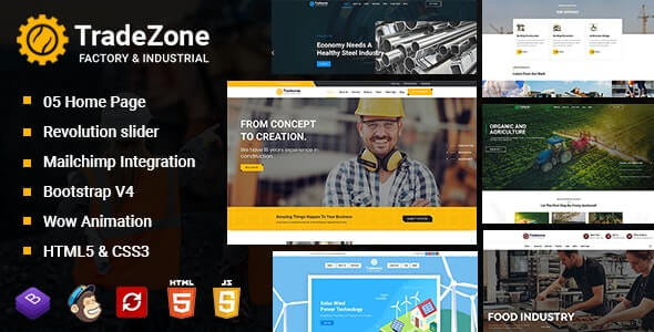 TradeZone v1.0 - Factory & Industrial One Page HTML Template