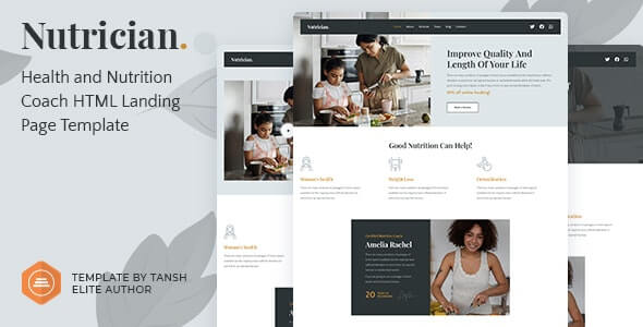 Nutrician v1.0 - Health and Nutrition Coach Feminine HTML Landing Page Template