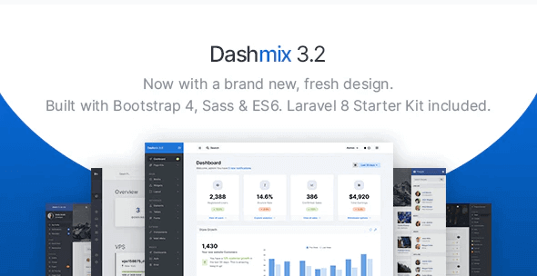 Dashmix v3.2 - Bootstrap 4 Admin Dashboard Template & Laravel 8 Starter Kit