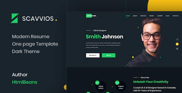 Scavvios v1.0 - One Page Parallax HTML5 Template
