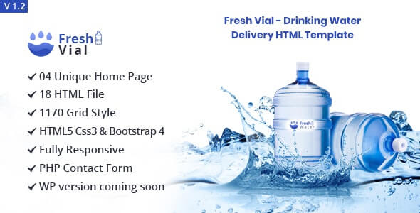 Fresh Vial v1.2 - Drinking Mineral Water Delivery Bootstrap4 HTML5 Template